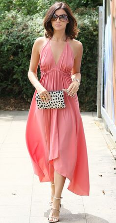 Summer style: Lucy Mecklenburgh stunned in a pink dress and stilettos as she arrived at her Essex boutique