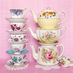 Teacups & Teapots  I have the cream and sugar to the second teapot down.  I found them in England at an antique shop.