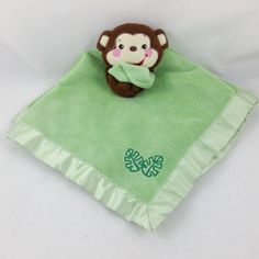 Fisher-Price-Green-Monkey-Lovey-Security-Blanket-Minky-Satin-w-Leaves