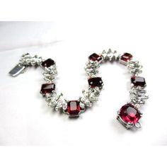 Ciner Bracelet Ruby Glass Rhinestone Retro Vintage Jewelry WINTER SALE ($259) ❤ liked on Polyvore featuring jewelry, bracelets, vintage glass jewelry, ruby bangles, retro jewelry, glass bangles and sparkle jewelry