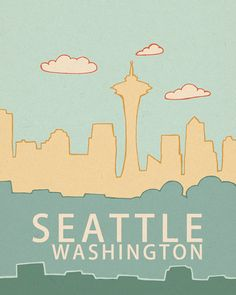 Seattle Washington Skyline 2.0 // Typography Print door LisaBarbero 20x25cm