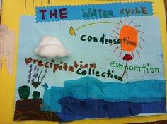 Seemann Found another one. Thinking blue or black ric rack would be cuter for the evaporation and clear or silver sequins for raindrops.whadda think? Simple Water Cycle, Water Cycle Diagram, Rainforest Project, Mad Science, Earth Science, Science Projects, Science Ideas, Diy Projects To Try, Project Ideas