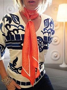 Scarf Ring : Liberatti Mandarin Orange SCarf - love the contrast with Zara top  www.scarfring.com