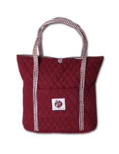 Custom made-to-order, any color Large Tote Bag/ Diaper Bag 100% Quilted Dyed Cotton Customized with school or business logo Eugenia Kids Collection - Austin, Texas