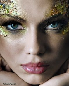 I really like the sequins and glitter applied to the outer eye and temple- could make for really interesting snake-like scales on a Medusa/Gorgon character.