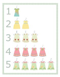 Girl Dress Nursery Art Prints 16 x 20 -  Dresses Number Print, Children Decor, Baby Girl Wall Art. $35.00, via Etsy.
