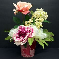 Valentine's 2015 Season Buckets: hybrid Peony, White & Pink Roses and berries on XOXO Tin Buckets. Original design and arrangement by http://nfmdesign.synthasite.com/