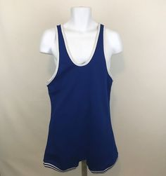 Vintage Cliff Keen Wrestling Singlet Mens XL Blue With White Trim No Markings  #CliffKeen
