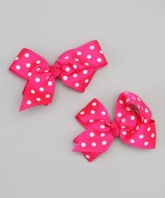 Take a look at this Hot Pink & White Polka Dot Bow Clip Set by Hipbabies on #zulily today!