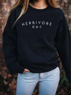9650280d Vegan 'Herbivore' Black crewneck sweatshirt, vegetarian sweatshirt, vegan  shirt