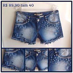 ***+Shorts+Jeans+com+Pérolas!+Shortinho+Jeans+super+moderno+com+aplicação+de+pérolas+!!+Apenas+1+unidade+em+estoque!!+Corre! R$ 89,90