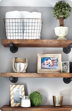 DIY Restoration Hardware-Inspired Reclaimed Wood and Metal Wall Shelves Diy Home Decor Rustic, Home Design Decor, Design Ideas, Rustic Wood Shelving, Industrial Shelving, Diy Shelving, Modern Shelving, Urban Industrial, Industrial Farmhouse