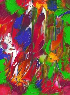 "Custom Abstract Acrylic Painting On White Mat ""Garden Light'' by ..."