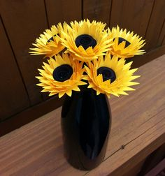 Paper Flower Bouquet - Yellow Paper Sunflowers (6) - Perfect for weddings, bridal bouquets, anniversaries, showers