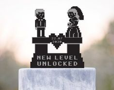 Check out our nerdy cake topper selection for the very best in unique or custom, handmade pieces from our party décor shops. Gamer Wedding Cake, Wedding Cake Toppers, Wedding Cakes, Video Game Wedding, Cake Games, Our Wedding, Wedding Stuff, Nerdy, Wedding Decorations