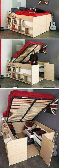Folding beds are a lot in fashion and proves to save maximum space. This bed is apparently just a high bed but gives you provision of a huge closet. Now you need not to worry about reserving a space for your bed and then find space for building your closet, making your room congested. This folding bed saves you a lot of space.