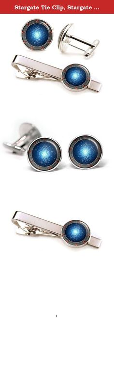 """Stargate Tie Clip, Stargate SG-1 Cufflinks, Stargate Atlantis Cuff Links, Stargate Universe Wedding Jewelry, Fathers Day Gift. -10% Off- purchases of two or more items from my amazon shop. For more cufflinks and tie clips check out my other listings by clicking the """"SharedImagination"""" link at the top of the listing above the product title. These cufflinks and tie clip feature a high quality image underneath glass. The glass gives the image a great shine and magnification which really..."""