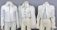 Lot 11: Three women's white designer jackets including Moschino short jacket with fur collar and arms of long alpaca hair, white leather #Nadeausauction #Socialite #Luxury #Couture #Vintage #Fashion #Auction