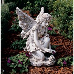 Fairy Statues: Kneeling Garden Fairy   Gardener's Supply