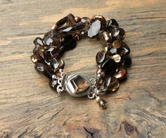 Smoky quartz bracelet by ArtfulHummingbird on Etsy, $179.00