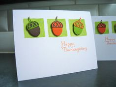 Happy Thanksgiving Cards Set of 2 Acorn Cards by apaperaffaire