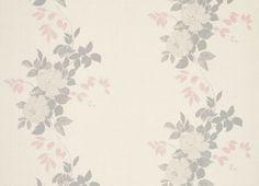 Garden Rose Grey Linen/Cotton Curtain Fabric