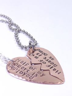Copper Broken Heart His and Her Necklace Set- Half My Heart is Deployed, Half My Heart is At Home- Deployment Jewelry, Military Couple, Army on Etsy, $32.00