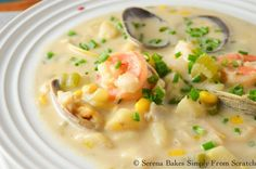 Hearty Seafood Chowder from serenabakessimplyfromscratch.com.