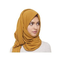MUSTARD KNITTED HIJAB 12.99 (155 EGP) ❤ liked on Polyvore featuring accessories