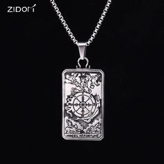 Stainless Steel silver plated Men vintage Tarot Card pendant necklaces trendy 20-24inch long chain fashion necklace men jewelry //Price: $11.22 & FREE Shipping //     #VAPE