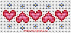 Hearts, free cross stitch patterns and charts - www.free-cross-stitch.rucniprace.cz