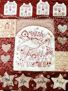 """The Wish"" free red brolly christmas quilt  #sampler #quilt #patchwork #redwork # christmas"