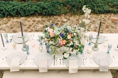 Pale slate and coral color palette. Inspiration Shoot:  Les Cometes and Rustic White Photography