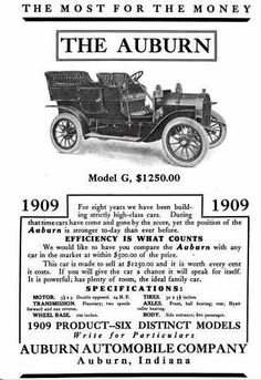 1909 Auburn Automobile Advertisement