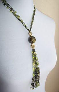 Items similar to Trellis Ladder Ribbon Yarn Necklace . Ribbon Jewelry, Fabric Jewelry, Jewelry Crafts, Beaded Jewelry, Handmade Jewelry, Jewellery, Knitted Jewelry, Yarn Necklace, Ribbon Necklace