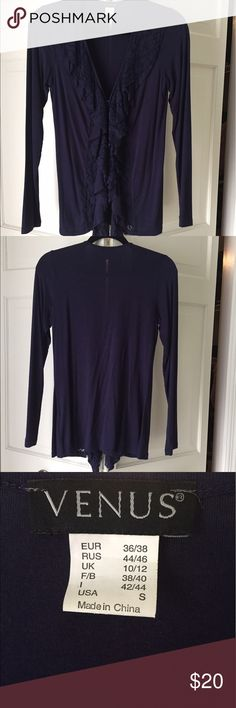 Venus Dark Purple Lacey collar shirt. Worn once. Camisole style shirt with lace collared front. 2 hook and eye closures in front. Looks really nice. VENUS Tops Camisoles