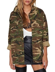 11e53a38f7 Women s Camouflage Lightweight Long Sleeve Military Jacket Coat - Army  Green - CR182IW6E89