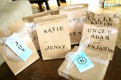 Simcoe Street: Brown Paper Packages: Wrapping Your Gifts For Free    What a great way to use plain brown paper bags received from stores or whoever and use them as Christmas gift bags. Using stamps and stickers gives these bags a great look filled with love.