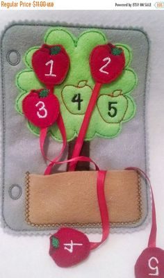 This listing is for 1 counting apple tree counting quiet book page and can be added to other pages to create the perfect quiet book. Practice