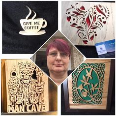 Next we have the lovely Sarah from she does some absolutely gorgeous scroll saw woodwork! Lots of beautiful keepsake items in… Next Us, Absolutely Gorgeous, Beautiful, Scroll Saw, My Coffee, Lush, Stained Glass, Give It To Me, Woodworking