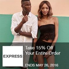 Express Coupon- Take 15% Off Your Entire Order May_Online Only! Take 15% Off Your Entire Order with Code at Express.com! Brought to you by http://www.imin.com and http://www.imin.com/store-coupons/express/