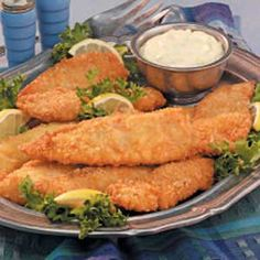 Mom's Fried Fish  Our family has an annual fish fry that centers around my mom's recipe. I think she makes the finest fried fish around. It's flaky and flavorful with a golden cracker-crumb coating, and her homemade tartar sauce is a fitting complement.