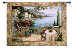 Mediterranean Terrace II Wall Tapestry - 54W x 41H in. - Wall Tapestries and Scrolls at Hayneedle