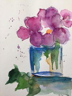 ORIGINAL AQUARELL Aquarellmalerei Bild Kunst Blumenstrauß Watercolor flowers purple flowers art fineart 6,7 Zoll x 9,5 Zoll