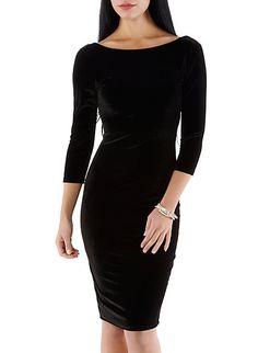 Velvet Low Back Midi Dress