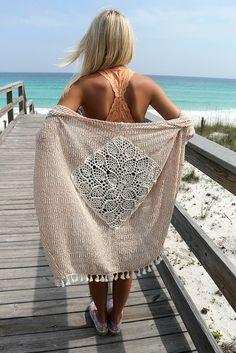 Pine Island Crochet Back Knit Tassel Camel Cardigan