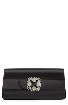 MANOLO BLAHNIK 'Gothisi' Clutch. #manoloblahnik #bags #clutch #metallic #crystal #lining #hand bags #rayon #silk