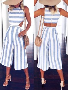 Casual Chunky Stripes Cutout Wide Leg Jumpsuit Source by matthevd women clothes Summer Outfits, Casual Outfits, Cute Outfits, Summer Clothes, Look Fashion, Fashion Outfits, Modelos Fashion, Casual Jumpsuit, Jumpsuit Shorts