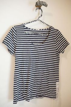 J.Crew Navy Blue Stripe Lace-Up Tee Size S Cotton  #JCrew #KnitTop #Casual