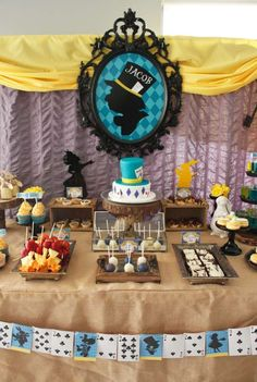 Alice in Wonderland Birthday Party dessert table and backdrop! See more party planning ideas at CatchMyParty.com!